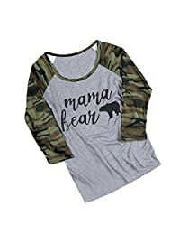 Vin beauty Mama Bear Liner Shirts T Shirt Camouflage Casual Tops for Women L