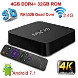 TV Box, Super-VIP MX10 Smart 4K TV Box Android 7.1.2 RK3328 Quad Core 4GB DDR4 32GB Wifi Set Top Boxes Support 3D 4K Ultra HD TV