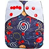 "HappyEndings ""Night, Night""TM Charcoal Bamboo All In One Diaper (+Pocket & 5 Layer Charcoal Bamboo Insert) ""Tidal Wave"""