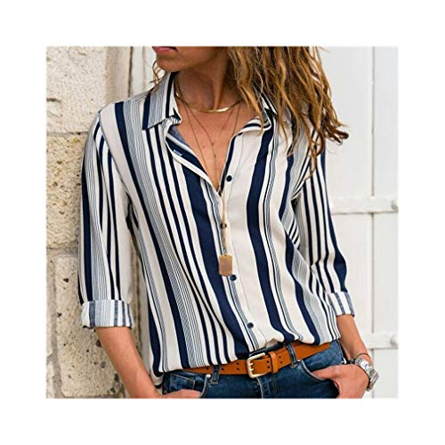 Women Fashion Long Sleeve Turn Down Collar Office Chiffon Blouse Shirt Tops White Black