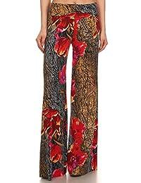 Yelete Women's High Waist Wide Leg Palazzo Pants with Foldover Waist Band