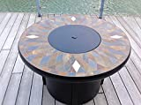 42″ Natural Slate and Copper Top Outdoor Propane Gas Fire PIt Table: Black Frame For Sale