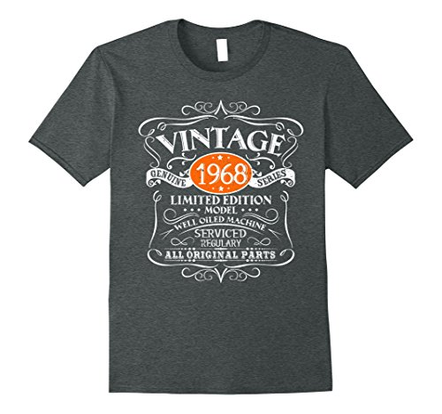 Mens Vintage 50th Birthday Funny Tshirt 1968 All Original Parts XL Dark Heather