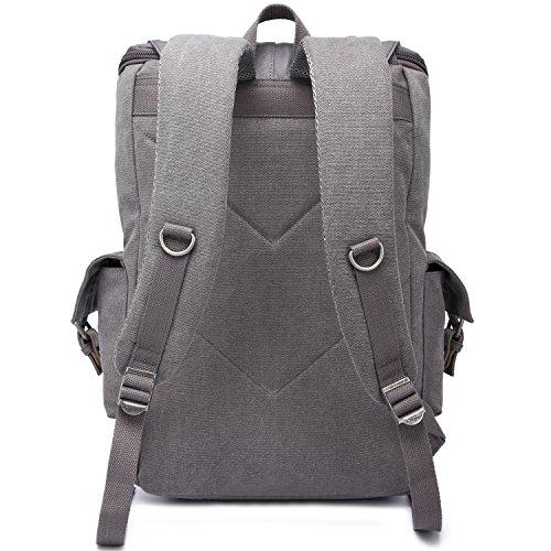 Rucksack Damen Herren Schulrucksack Backpack Kaukko 15 Zoll Laptop Rucksack Lässiger Daypacks Schultaschen für Arbeit Wandern Reisen Camping (1038-Schwarz) Grau-1037