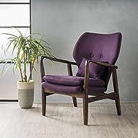 Ventura Plum Fabric Dark Espresso Frame Club Chair
