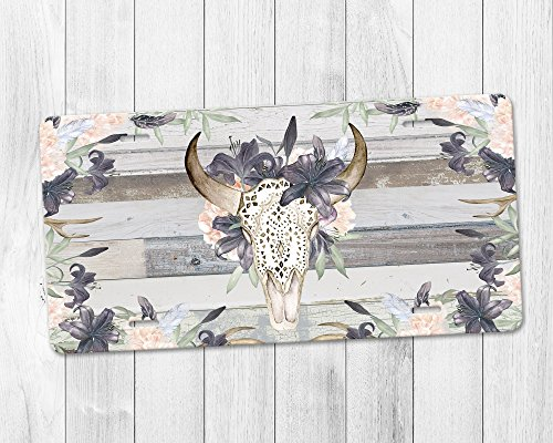 Western Boho Floral Bull Skull Aluminum License Plate with Grey Barn Wood (Reclaimed License Plate)
