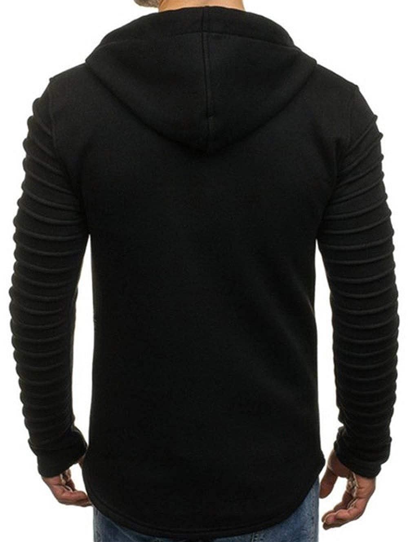 KENANCY Mens Pleated Sleeve Full Zipper Hood Jacket Long Sleeve Drawstring Fleece Hoodie