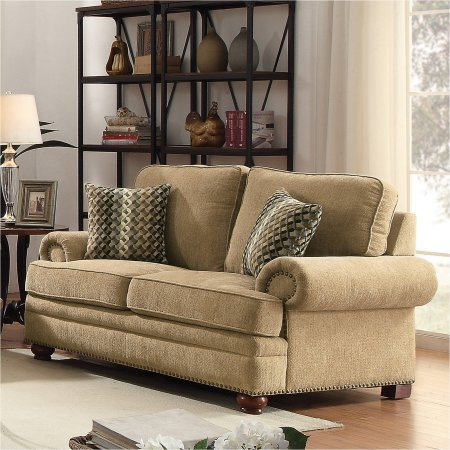 Coaster Colton Loveseat, Wheat Chenille Fabric, For comfort it has pocket coiled springs (Chenille Fabric Loveseat)