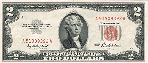 1953 A $2 Red Seal United States Note 2 Red Seal Note