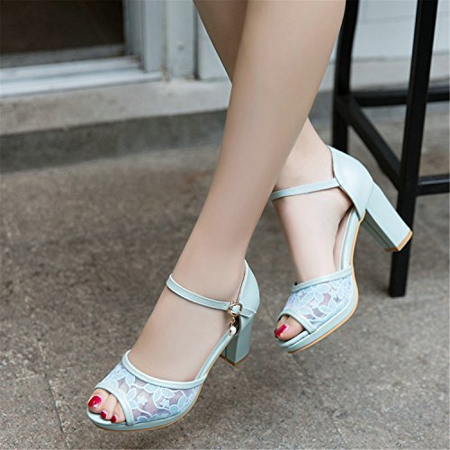 43 Shoes Size Peep Pu Net White Pink Toe 34 Wedding Pumps Square Jerald Shoes Women Big Women's Logan RycB1xa