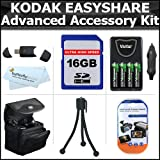 16GB Accessory Kit For Kodak EasyShare Max Z990, Z5010, Z5120 Digital Camera Includes 16GB High Speed SD Memory Card + USB 2.0 Card Reader + 4 AA High Capacity Rechargeable NIMH Batteries And AC/DC Rapid Charger + Case + LCD Screen Protectors + More