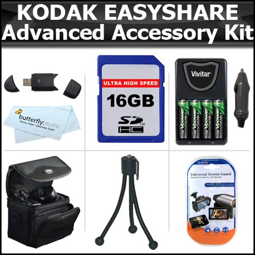 16GB Accessory Kit For Kodak EasyShare Max Z990, Z5010, Z5120 Digital Camera Includes 16GB High Speed SD Memory Card + USB 2.0 Card Reader + 4 AA High Capacity Rechargeable NIMH Batteries And AC/DC Rapid Charger + Case + LCD Screen Protectors + More by ButterflyPhoto