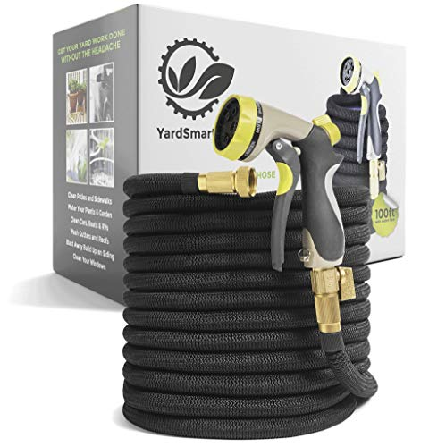 YardSmarter 100 ft Expandable Garden Hose – Black Retractable Flexible No Kink Water Hose with 3/4″ Brass Fittings for Lawn Plants & Car – Includes Heavy Duty 8 Spray Zinc Nozzle & Outdoor Storage Bag