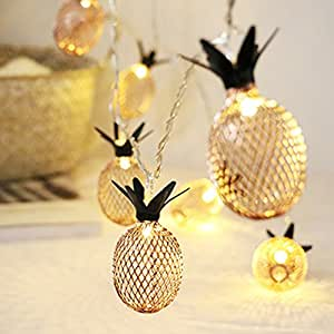1.5meter 10LEDs Metal Pineapple Shaped String Light,Fairy String Lighting Battery Powered for Christmas Home Wedding Party Bedroom Birthday Decoration