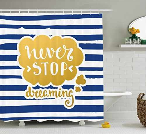 Technology Christmas Quotes - Quotes Decor Shower Curtain Set By Ambesonne, Marine Themed Inspirational Phrase For Life Decorative Navy Vintage Style Artisan Design, Bathroom Accessories, 69W X 70L Inches, Gold Blue