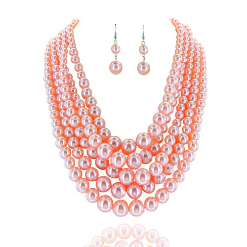 Women's Glossy Pearl Polished Crossover Necklace & Earrings Set in Coral Pink