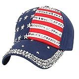 Moonuy Women Men American Flag Baseball Cap Snapback Running Cap Cute Flat Hat Fashion Embroidery Cotton Adjustable Baseball Cap Boys Girls Baseball Cap Sunhat (Navy)