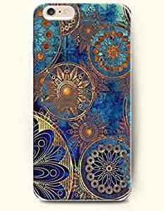 OOFIT New Apple iphone 6 Plus(5.5inch) Hard Back Case - MANDALA CIRCLE - Blue Navy Golden Complicated Line