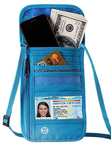 Price comparison product image Defway Passport Holder RFID Blocking Travel Wallet Waterproof Hidden Pouch (BLUE)