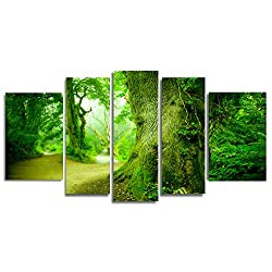 Startonight Glass Wall Art Acrylic Decor Set in the Forest, and a Contemporary Clock Set of 5 Total 35.43 X 70.87 Inch 100% Original Artwork the Ultimate Wall Art