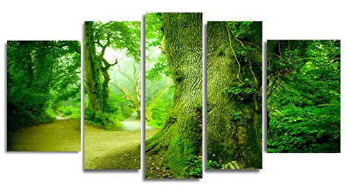 Startonight Glass Wall Art Acrylic Decor Set in the Forest, and a Contemporary Clock Set of 5 Total 35.43 X 70.87 Inch 100% Original Artwork the Ultimate Wall (Famous Couples Halloween)