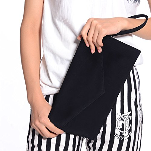 Anladia Cartera de Mano para Mujer Bolso con Cadenas 120cm de Fiesta Boda Salidas Tipo Clutch Bolso Estilo Sobre Color Negro: Amazon.es: Zapatos y ...