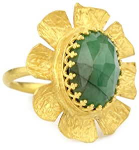 "Kevia ""Pacifica"" Rose Cut Oval Emerald Flower Ring, Size 6"