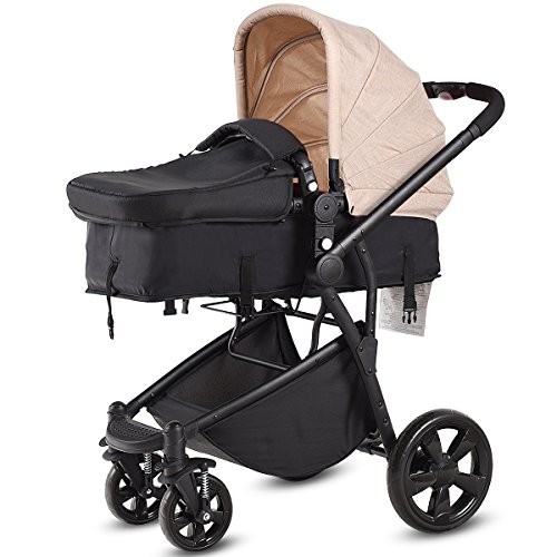 Costzon Infant Stroller, 2-in-1 Foldable 4-Wheel Baby Toddler Stroller, Convertible Bassinet Reclining Stroller Compact Single Baby Carriage with Adjustable Handlebar and Storage Basket (Beige)
