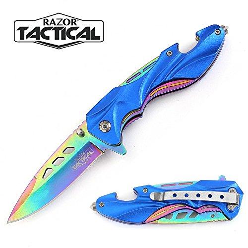 RAZOR TACTICAL Pocket Knife Spring Assisted Rescue Style Knife - Stainless Steel Titanium Blade Folding Knife - Window Breaker, Bottle Opener, Pocket Clip