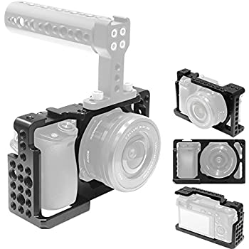 """Camera Cage for Sony A6300 A6000 with 1/4"""" and 3/8"""" Threaded Holes Cold Shoe Mount for Sony A6000 A6300 ILCE-6000 ILCE-6300 NEX7 for DSLR Camera Top Handle, Tripod Plates, EVF Mount,Cold Shoe and More"""