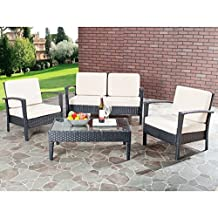 Safavieh Home Collection Glass Top 4-Piece Patio Furniture Set