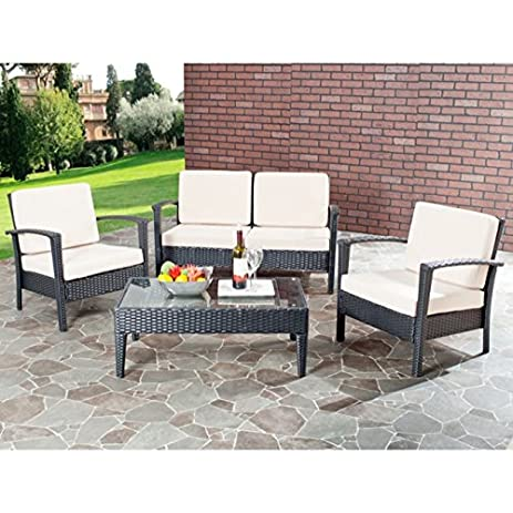 Safavieh Home Collection Glass Top 4 Piece Patio Furniture Set