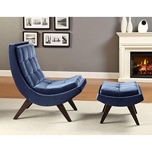 Chelsea Lane Lashay Velvet Lounge Chair & Ottoman -