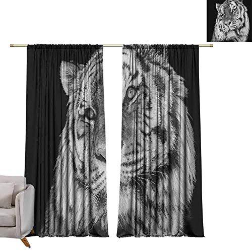 (berrly Window Curtain Drape Tiger,Close-up Photo of a Wild Feline Beast with an Intense Gaze Strength of a Hunter, Pale Grey Black W96 x L108 Room Darkening Wide Curtains )