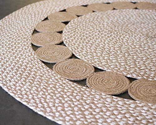 Second Nature Online - Alfombra redonda de algodón con pequeños círculos trenzados de yute natural, comercio justo, color beige y blanco, Yute, beige, 120cm Diameter: Amazon.es: Juguetes y juegos