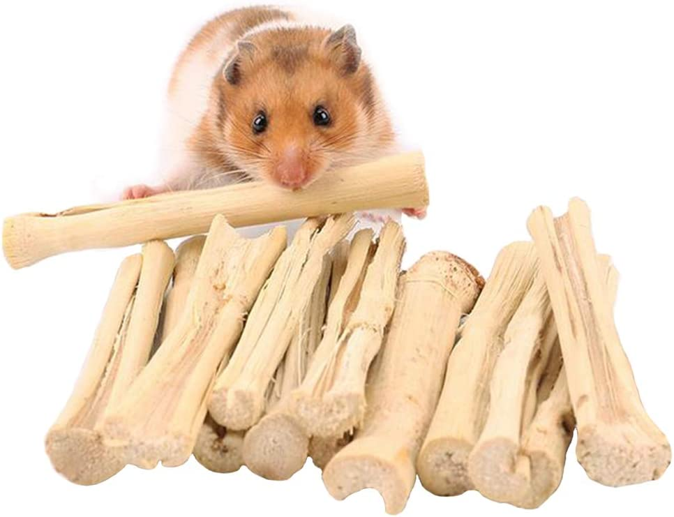 Yueunishi Pet Hamster Snacks, Chewing Toy, Apple Sticks Sweet Bamboo, 200 g (7 oz) for Hamster Rabbit Chinchilla Squirrel Guinea Gerbil Degus
