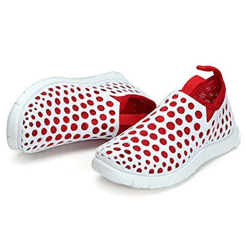 gracosy Men Women Garden Clogs Shoes Summer Slip On Water Shoes Lightweight Mesh Breathable Beach Shoes Anti-Slip Walking Sandals Hollow Out Flat Casual Outdoor Slippers Quick Drying White+red RW0FtrBL8