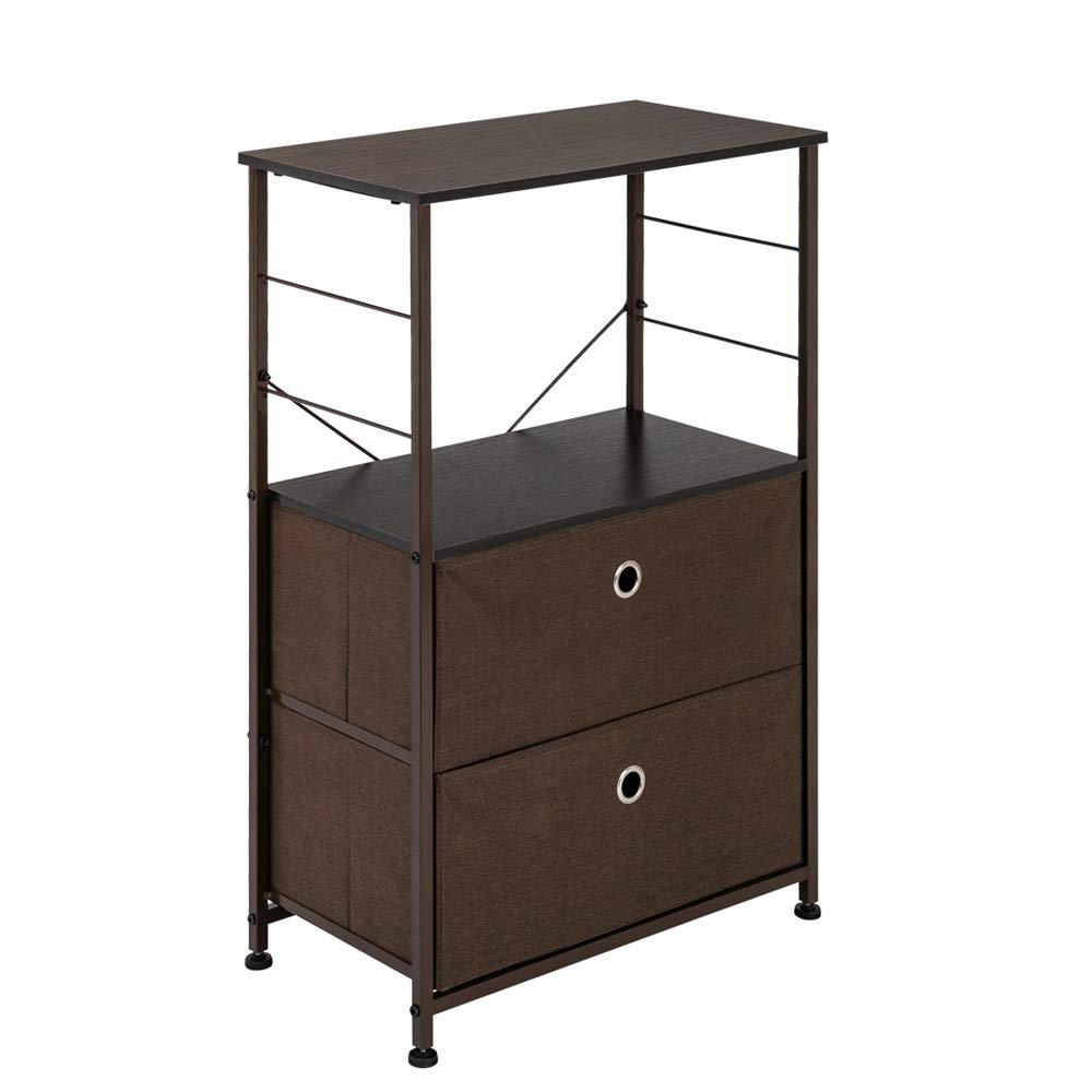 Teeker Nightstand 2-Drawer Shelf Storage - Bedside Furniture & Accent End Table Chest for Home, Bedroom, Office, College Dorm, Steel Frame, Wood Top, Easy Pull Fabric Bins (Brown) by Teeker