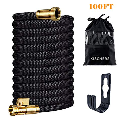 KISCHERS Expanding Garden Hose 100 ft Anti-Burst Expandable Water Hose Pipe with 3-Layers Natural Latex Core, 3/4 Solid Brass Fittings with Storage Bag & Hook Black