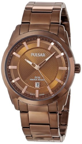 Pulsar Men's PH9019 Analog Display Japanese Quartz Brown Watch with Link Bracelet