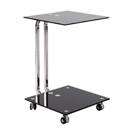 Portátil Soporte Mesa Auxiliar de cristal con 4 ruedas para portátil, Lazy soporte de escritorio