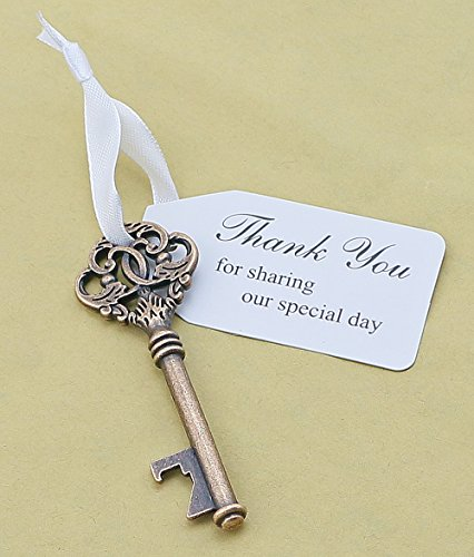 50pcs Wedding Favors Key Bottle Opener with Ribbon Escort Tag Card Thank you for sharing our special day (Key Style #6)