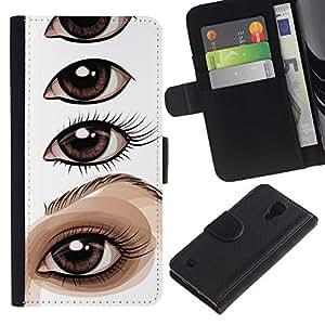 KingStore / Leather Etui en cuir / Samsung Galaxy S4 IV I9500 / Dibujo Ojo Pintura Lección artista