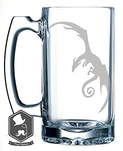 Lord of the Rings Dragon Inspired 25 OZ Hand-made Etched Beer Mug Glass Stein