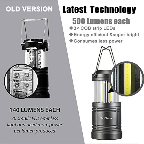 Camping Lantern- Swiftrans 2 Pack Portable LED Outdoor Lantern, Camping Survival Gear for Hiking, Emergencies, Hurricanes with Magnetic Base(6 Batteries Included)