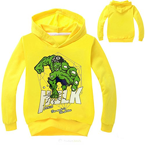 Captain America Avengers Costume Bad (AmonKui New Super Hero Sweatshirt Hulk Costume Avengers T-Shirt For Baby Girls Hoodied Boys Sweatshirt Children Casual Clothing Tops NO7648 Yellow 6)