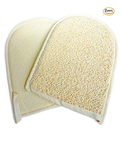 2 Pack(5.3×6.9 inches) Cotton Terry Exfoliating Sisal Bath Spa Shower Scrubber Loofah Rub Glove Mitt Mitten - Great for Your Skin Care in the Bath - Anti-aging ...