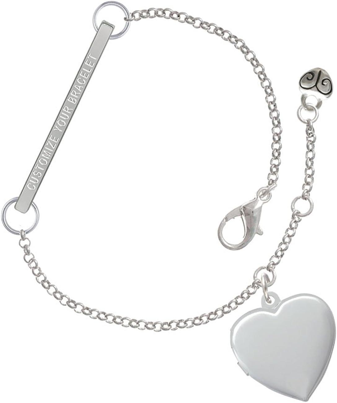 Heart Locket Custom Engraved Delicate Bar Bracelet