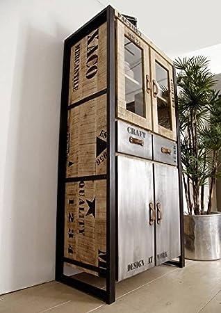massivmoebel24 Completamente sólida Muebles Mango Madera Hierro Impreso Escaparate Estilo Industrial De Madera Maciza Muebles macizos Fábrica #136: Amazon.es: Hogar
