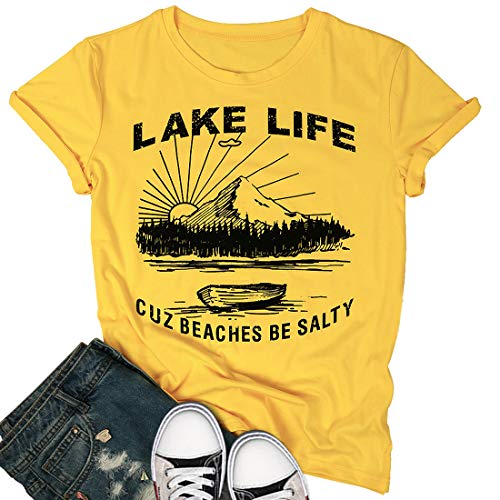 Lake Life T Shirt Women Funny Saying Graphic Tee Vacation Loose Casual Short Sleeve Shirts Tops Size L (Yellow)
